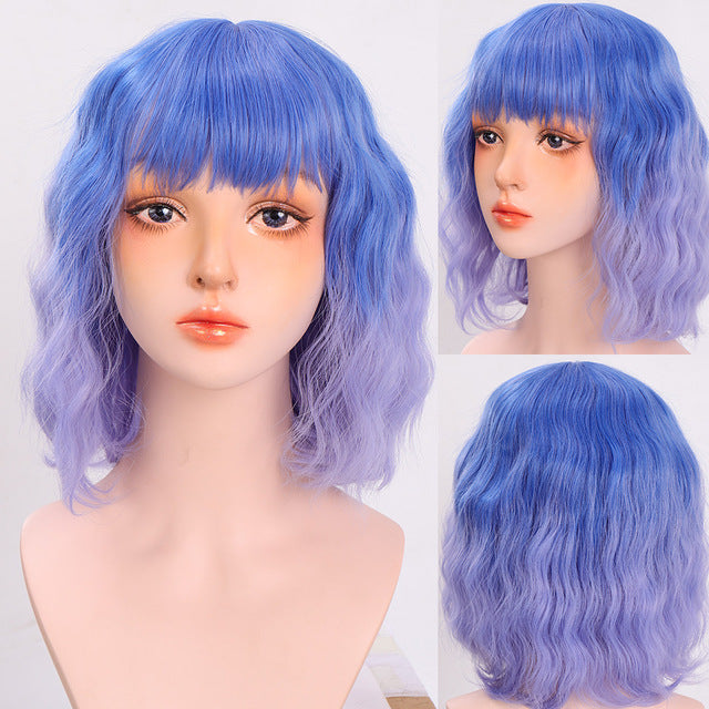 Purple Wig Bob Short Wig Colored Wigs front lace