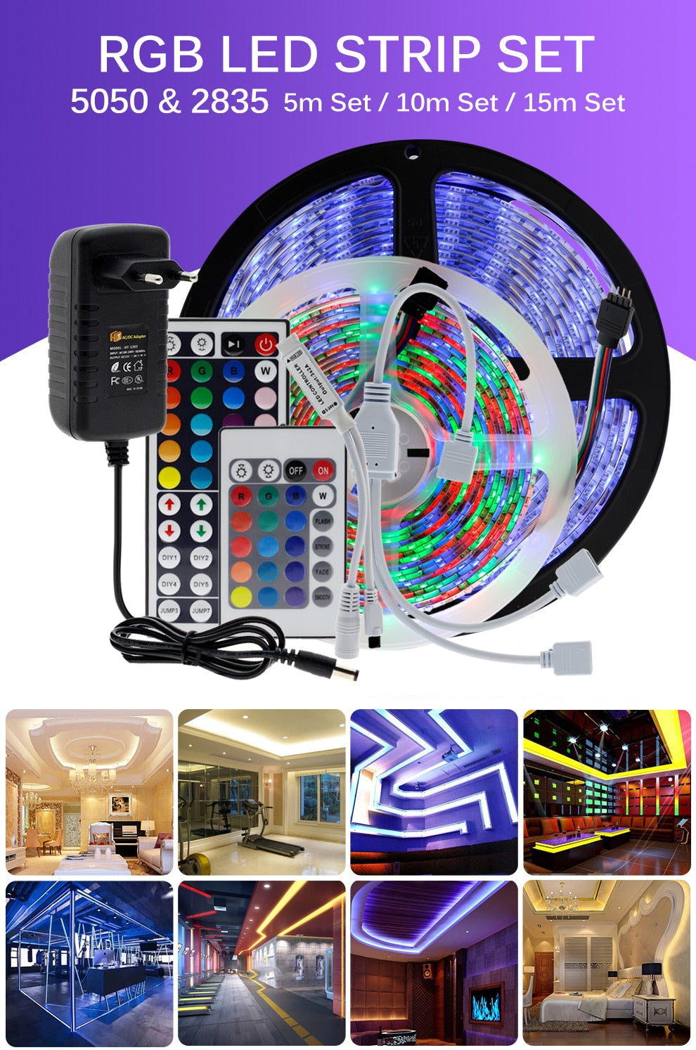 LED Strip Lights RBG Tape Light For Room Waterproof With Remote strips flexible