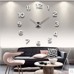 Frameless DIY Wall Clock, 3D Mirror Wall Clock Large Mute Wall Stickers