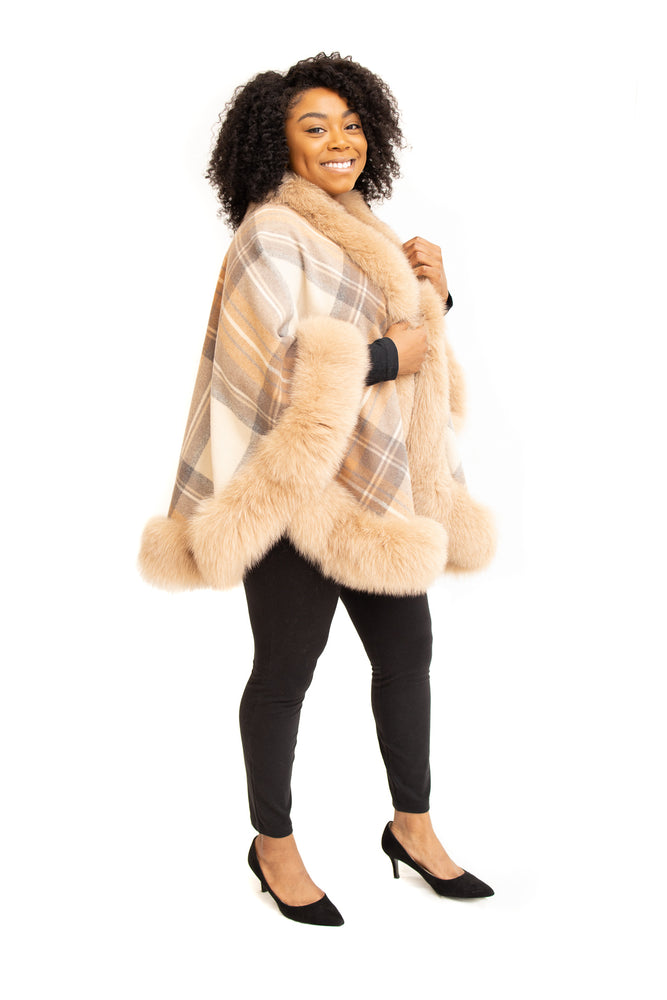 Camel Plaid Cashmere Cape with Fox Trim