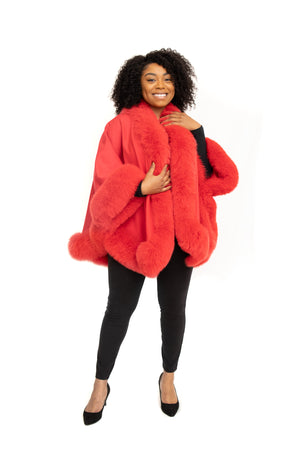 Load image into Gallery viewer, Red 100% Cashmere Cape with Fox Trim Available in Cleveland at ETON Chagrin Boulevard and in Akron at Summit Mall