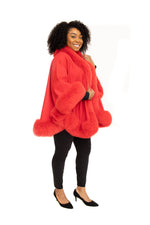 Red Cashmere Cape with Fox Trim