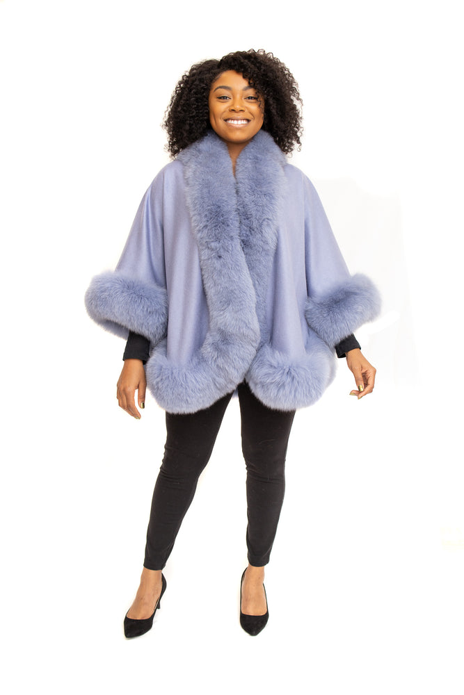 Load image into Gallery viewer, Blue Cashmere Cape with Fox Trim