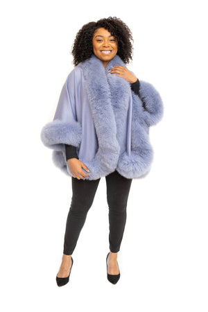 Blue Cashmere Cape with Fox Trim Available in Cleveland at ETON Chagrin Boulevard and in Akron at Summit Mall