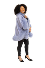 Blue Cashmere Cape with Fox Trim