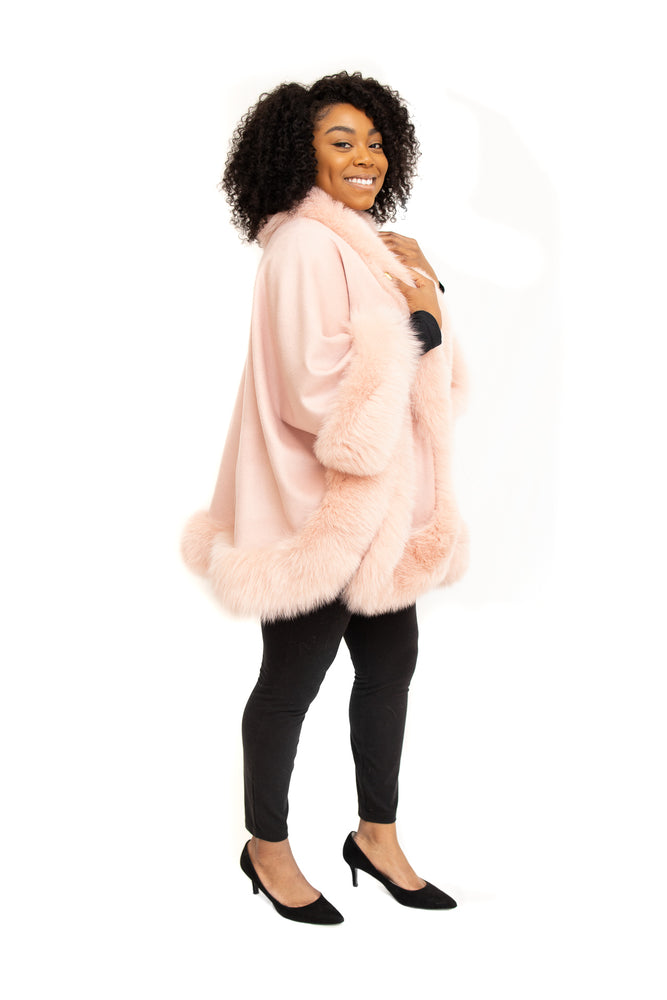 Pink Cashmere Cape with Fox Trim
