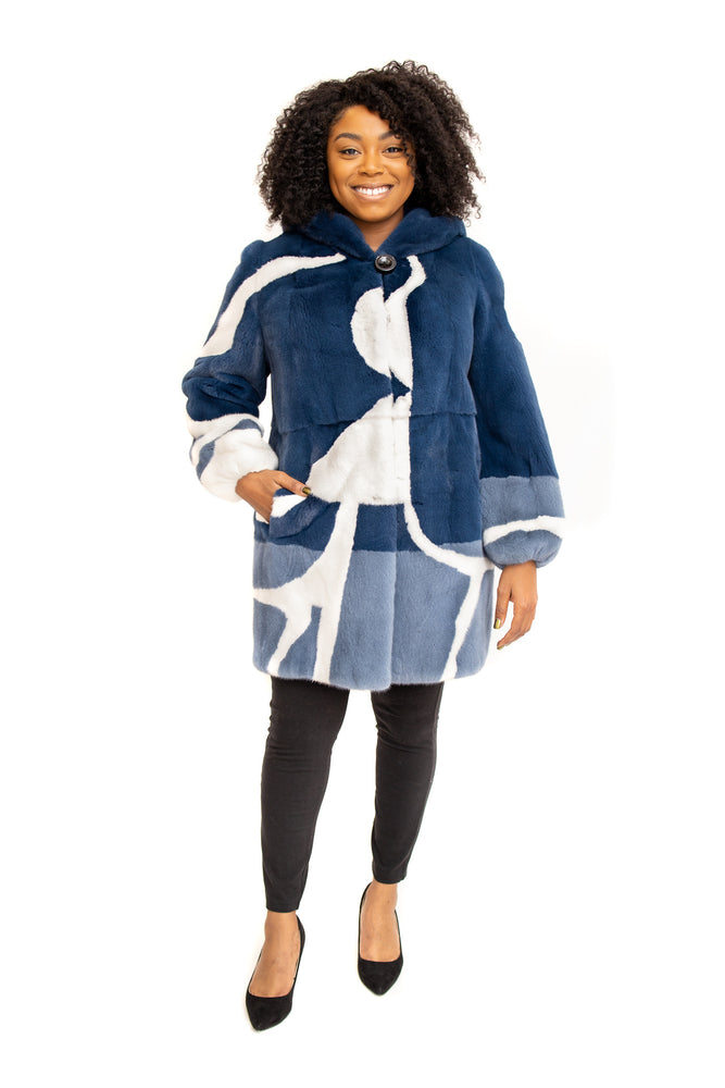 Load image into Gallery viewer, Navy Mink Coat with White Mink Inserts and Hood