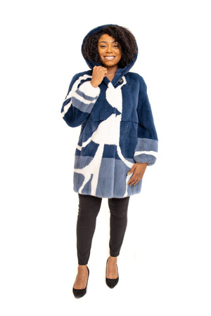 Load image into Gallery viewer, Navy Mink 3/4 Coat with Blue & White Mink Inserts and Hood Available in Cleveland at ETON Chagrin Boulevard and in Akron at Summit Mall