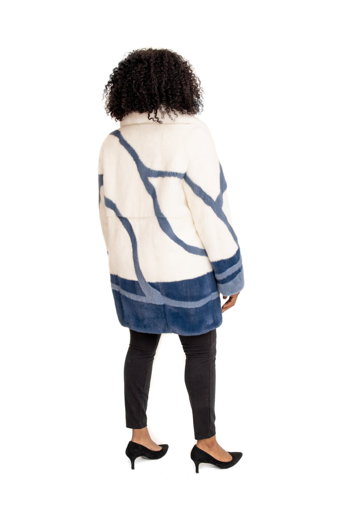 White Mink Coat with Blue & Navy Mink