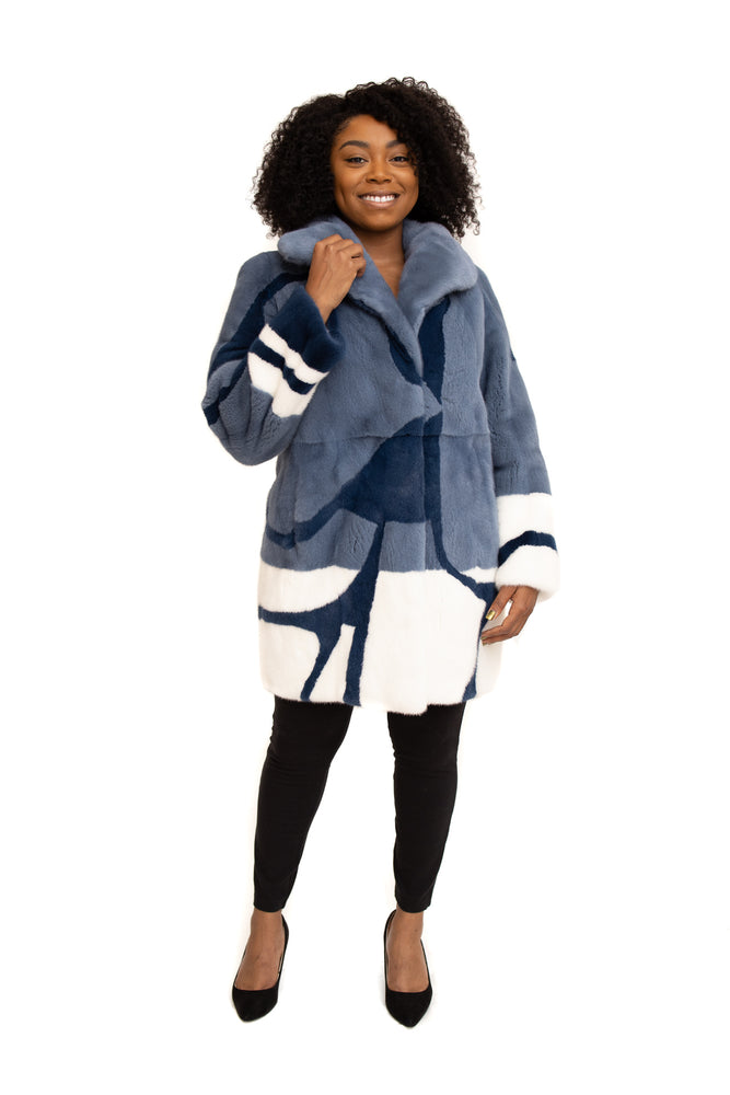 Blue Mink 3/4 Coat with Navy & White Mink Inserts Available in Cleveland at ETON Chagrin Boulevard and in Akron at Summit Mall