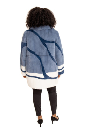 Load image into Gallery viewer, Blue Mink 3/4 Coat with Navy & White Mink Inserts
