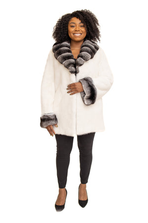 Load image into Gallery viewer, White Mink Stroller with Chinchilla Collar & Cuffs Available in Cleveland at ETON Chagrin Boulevard and in Akron at Summit Mall