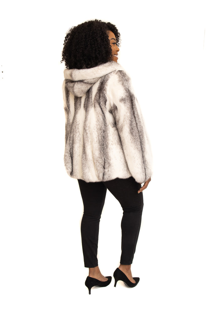 Black Cross Mink Jacket with Hood