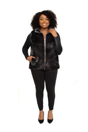 Load image into Gallery viewer, Ranch Mink Fur Jacket Vest Reversible Goose Down