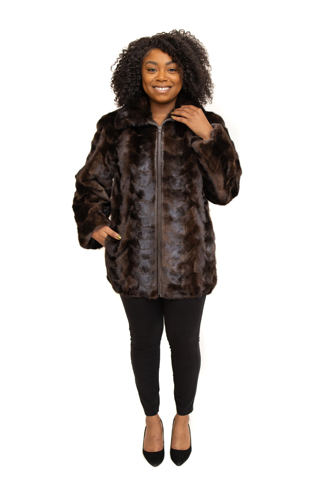Ranch Mink Fur Paw Zipper Jacket with Full Skin Mink Collar