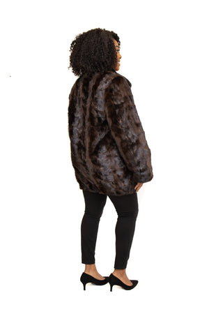 Mahogany Mink Fur Paw Zipper Jacket with Full Skin Mink Collar