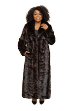 Natural Ranch Black Mink Fur Paw Coat with Full Skin Collar and Cuffs