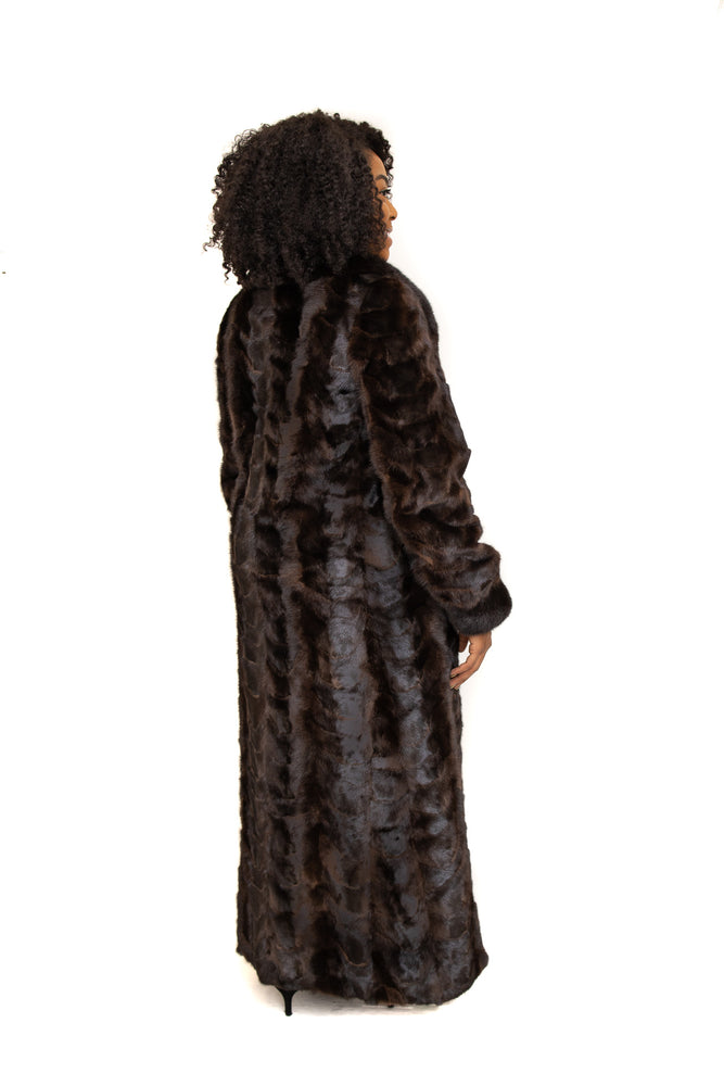 Natural Mahogany Mink Fur Paw Coat with Full Skin Collar and Cuffs Available Cleveland ETON Chagrin & Akron Summit Mall