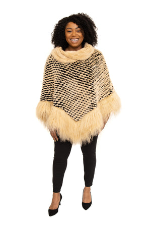 Beige Rex Cape with Tibet Lamb Trim Available in Different Colors at Akron Summit Mall and Cleveland ETON Chagrin Boulevard