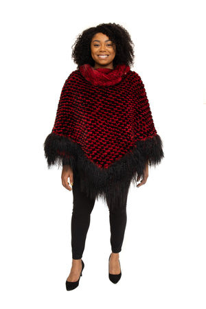 Style:T17P-7 Red Rex Cape with Tibet Lamb Trim and Detachable Hood Available at Vollbracht Furs in Different Colors at Akron Summit Mall and Cleveland ETON Chagrin Boulevard