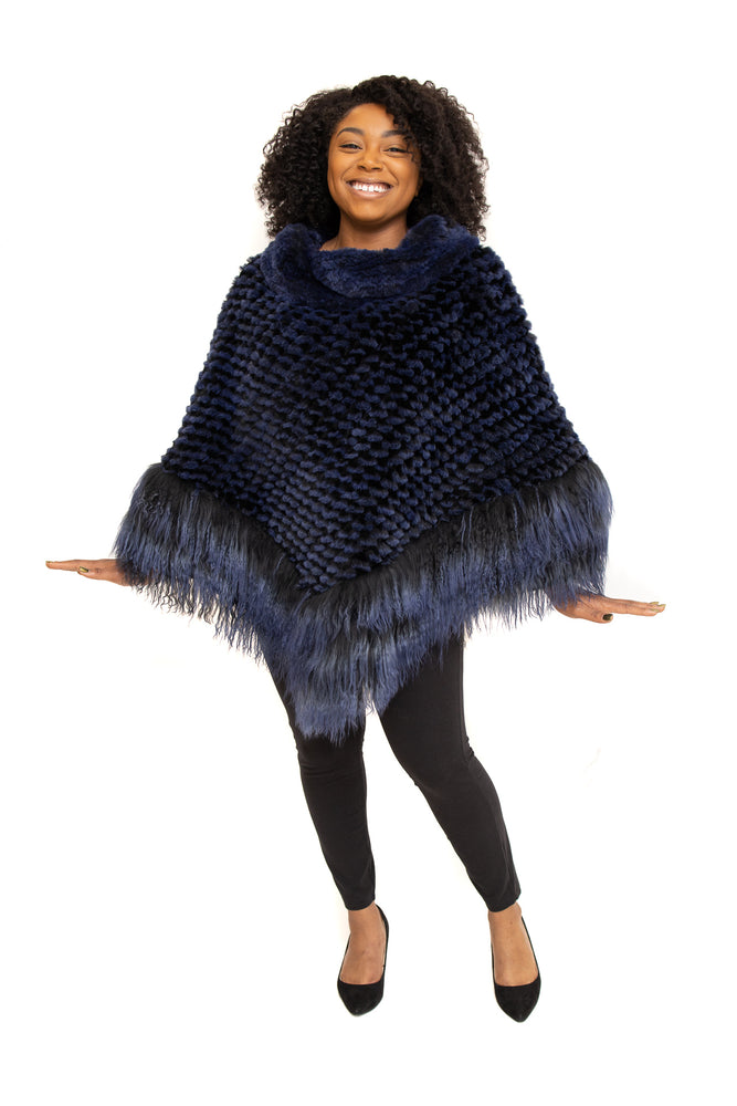Blue Rex Fur Cape with Tibet Lamb Trim