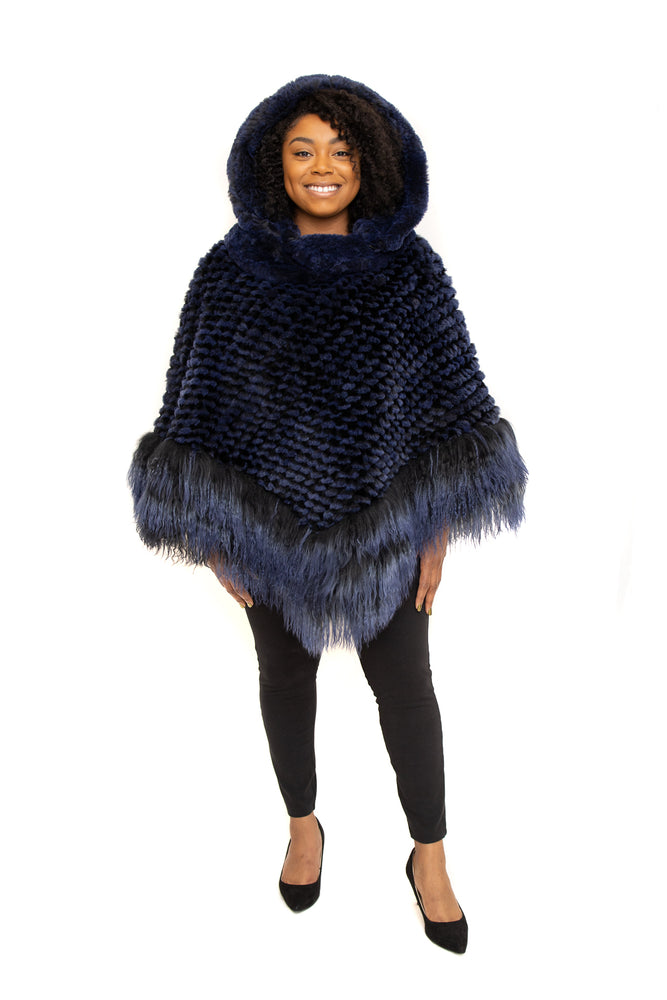 Load image into Gallery viewer, Blue Rex Cape, with Tibet Lamb Trim and Detachable Hood Available in Different Colors at Akron Summit Mall and Cleveland ETON Chagrin Boulevard