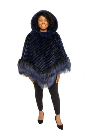 Blue Rex Cape, with Tibet Lamb Trim and Detachable Hood Available in Different Colors at Akron Summit Mall and Cleveland ETON Chagrin Boulevard