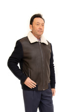 Shearling Jacket with Knitted Back & Sleeves