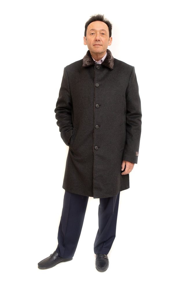 cashmere wool coat with fur collar at vollbracht furs in cleveland, ohio