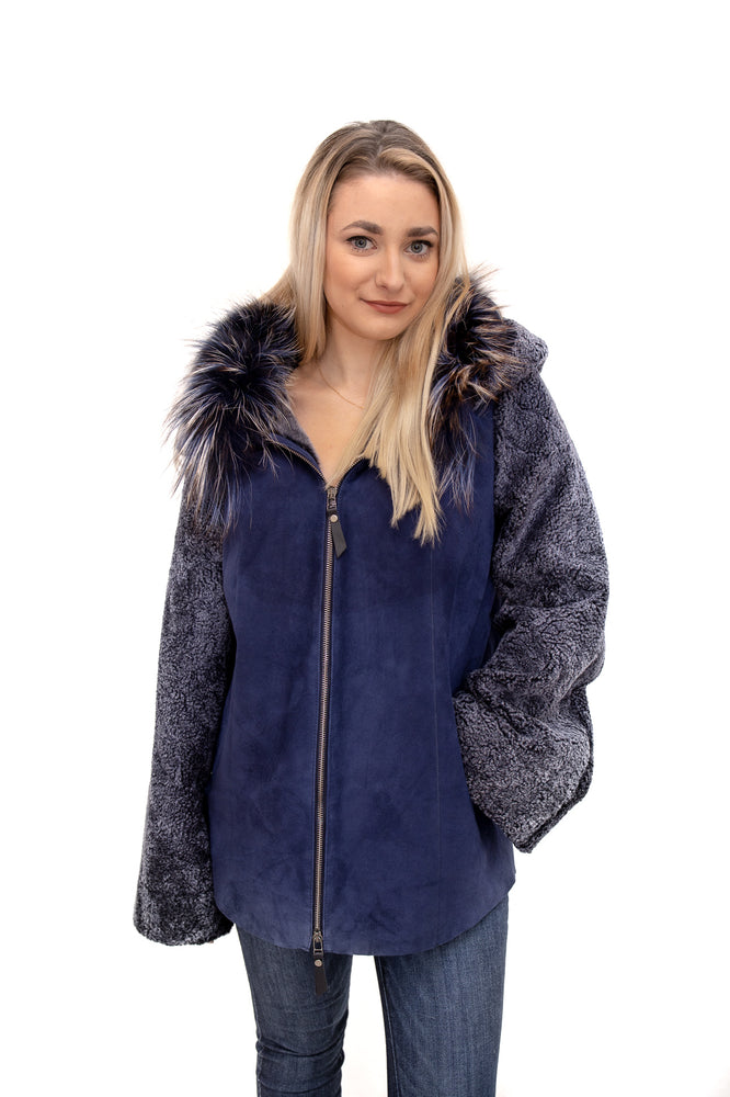 Blue Shearling Jacket