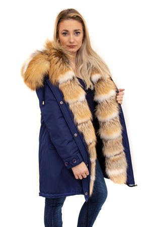 Navy Cotton Coat Gold Fox Trim and Hood Available in Cleveland at ETON Chagrin Boulevard and Akron at Summit Mall