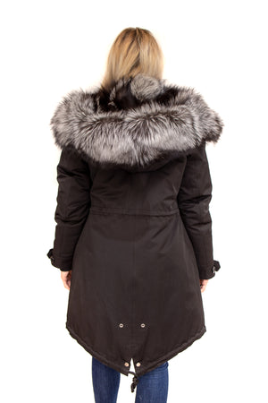 Black waterproof Cotton Coat Silver Fox Trim and Hood Available in Cleveland at ETON Chagrin Boulevard and Akron at Summit Mall