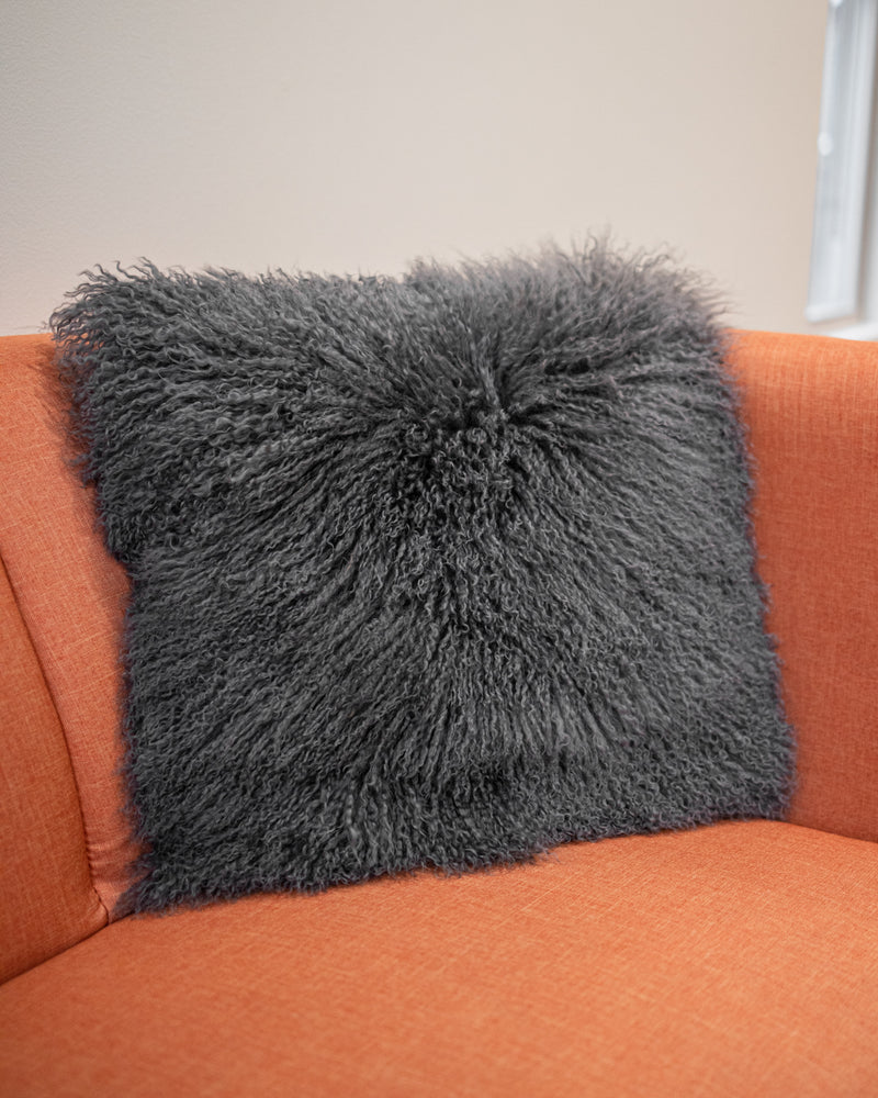 "Mongolian Lamb Pillow Blush or Grey 18""x 18"" with Velveteen Back Available Cleveland ETON Chagrin & Akron Summit Mall"
