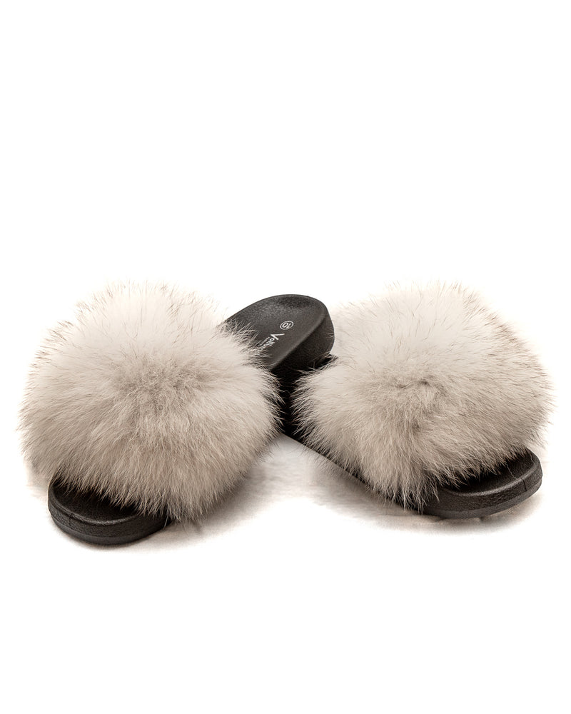 Fox Fur Slides - White