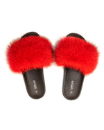 Fox Fur Slides - Red