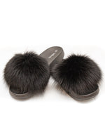 Fox Fur Slides - Black