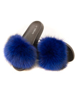 Fox Fur Slides - Blue