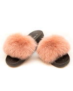 Fox Fur Slides - Pink