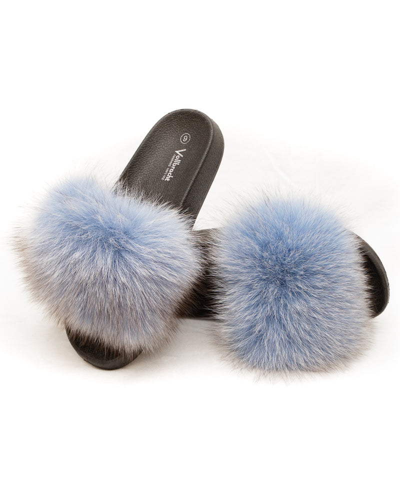 Fox Fur Slides - Powder Blue