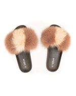 Fox Fur Slides - Beige