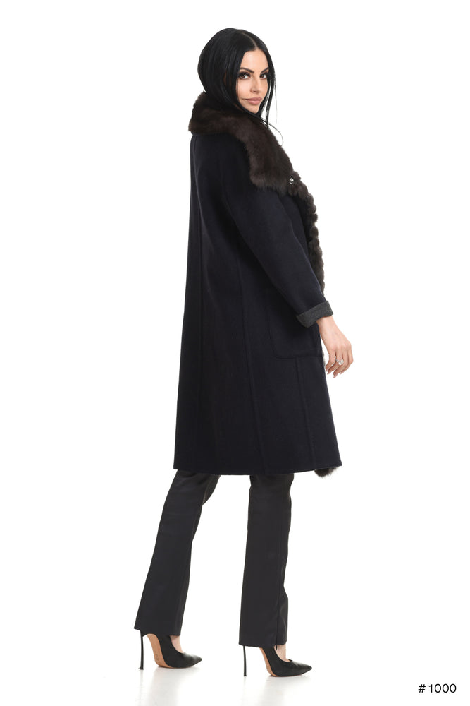 Cashmere Coat with Sable Trim