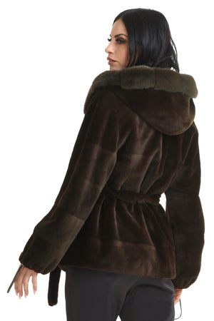 Coffee Mahogany Mink Jacket with Hood