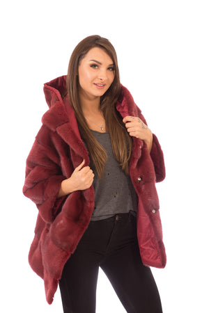 Mink Fur Jacket Reversible Purple Red