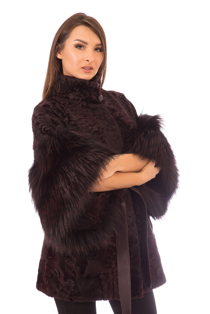 Burgundy Persian Lamb Fur Coat with Fox