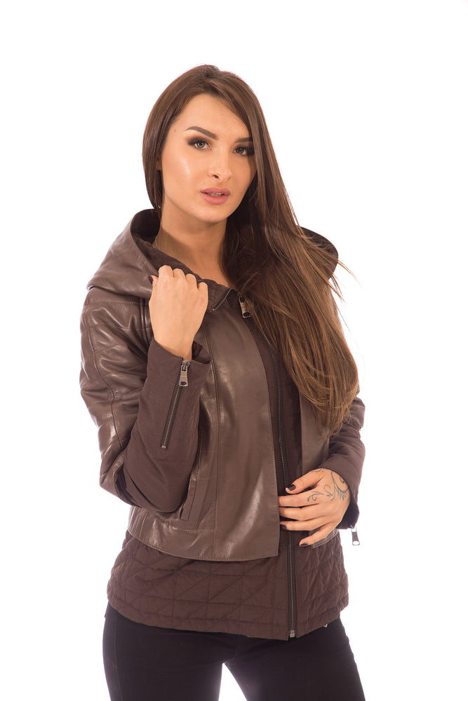 Leather Jacket Brown with Textile