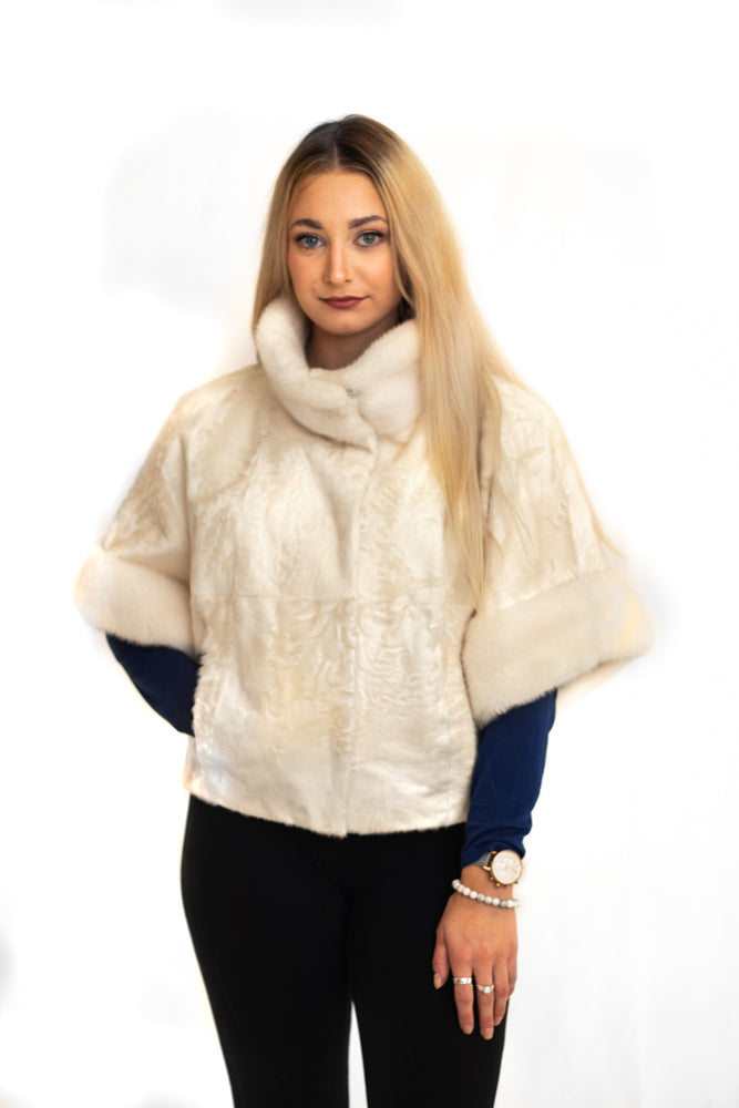 Lamb Jacket with Mink Collar & Cuffs