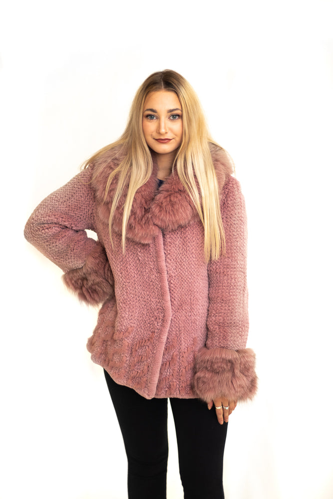 Sheared Rex Knitted Jacket, with Fox & Mink