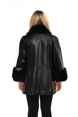 Load image into Gallery viewer, leather fur coat