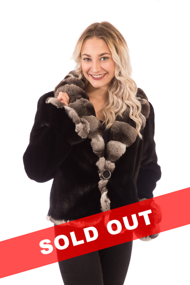 Load image into Gallery viewer, Ranch Mink Fur Jacket with Chinchilla Collar & Trim