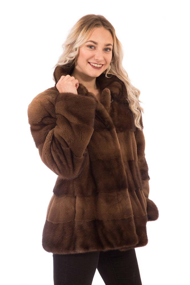Scanbrown Mink Fur Jacket Horizontal with Sheared